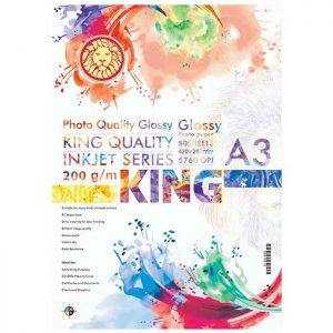 کاغذ گلاسه 200 گرمی KING سایز A3 بسته 50 برگی