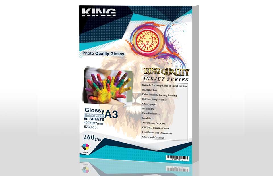 کاغذ گلاسه ۲۶۰ گرمی KING سایز A3 بسته 50 برگی