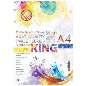 کاغذ گلاسه 200 گرمی KING سایز A4 بسته 100 برگی
