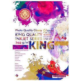 کاغذ گلاسه ۲۶۰ گرمی KING سایز A4 بسته 50 برگی