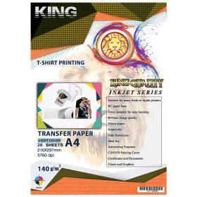 کاغذ چاپ روی لباس ۱۴۰ گرمی KING سایز A4 بسته ۲۰ برگی