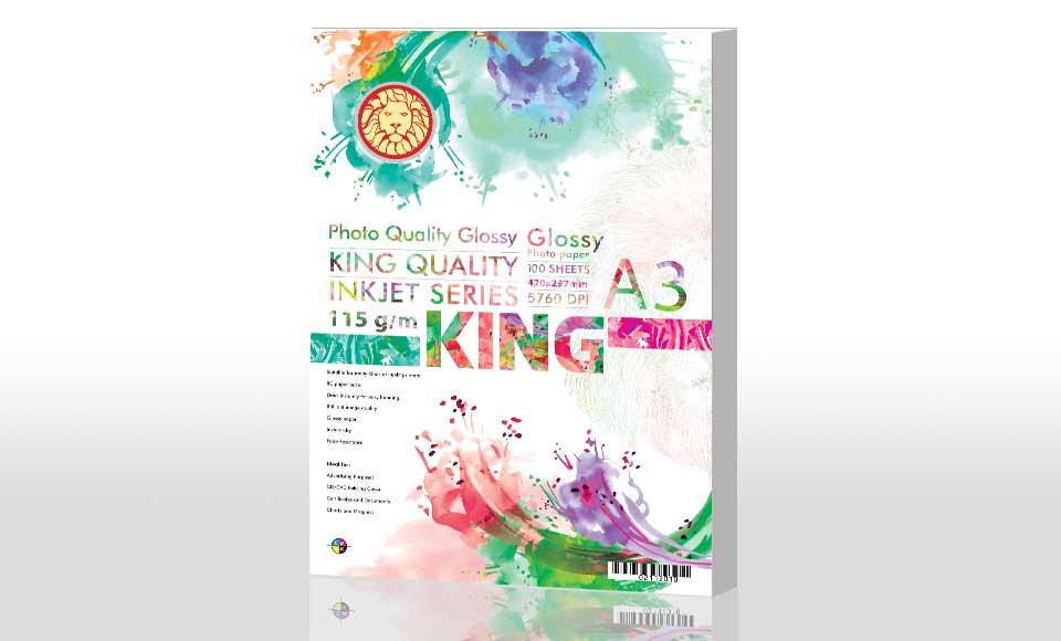 کاغذ گلاسه 115 گرمی KING سایز A3 بسته ۱۰۰ برگی
