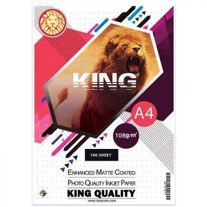 کاغذ کوتد مات 108 گرمی KING سایز A4 بسته ۱۰۰ برگی