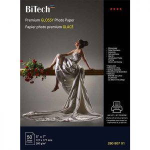 کاغذ گلاسه 260 گرمی Bitech سایز 18×13 بسته 50 برگی