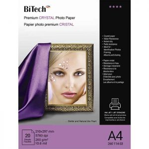 کاغذ کریستالی 260 گرمی Bitech سایز A4 بسته 20 برگی