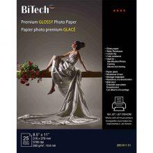 کاغذ عکس ۲۶۰ گرمی Bitech سایز Letter بسته ۲۵ برگی