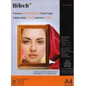 کاغذ فوق العاده براق 280 گرمی Bitech سایز A4 بسته 20 برگی