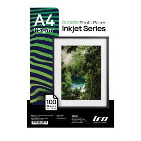 کاغذ گلاسه 115 گرمی LEO سایز A4 بسته 100 برگی