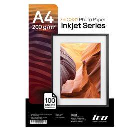 کاغذ گلاسه ۲۰۰ گرمی LEO سایز A4 بسته ۱۰۰ برگی