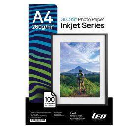 کاغذ گلاسه ۲۶۰ گرمی LEO سایز A4 بسته ۱۰۰ برگی