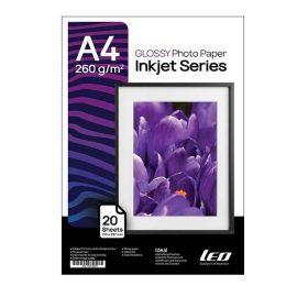 کاغذ گلاسه ۲۶۰ گرمی LEO سایز A4 بسته ۲۰ برگی